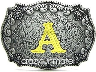 Western Belt Buckle Initial Letters ABCDMRJ to Z Cowboy Rodeo Gold Belt Buckles for Men Women