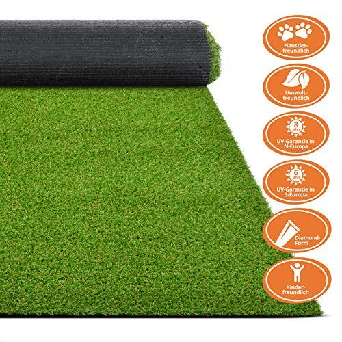 Premium Kunstrasen | Rasenteppich | Rollrasen | Kunststoffrasen | Garten-Rasen | Rasen für Balkon, Terrasse & Garten | viele Modelle | verschiedene Größen & Stärken (Terraza (Höhe: 18mm), 200x100 cm)
