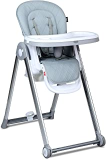 INFANS Folding High Chair for Babies &Toddlers, Space Saving with Multiple Adjustable Backrest, Footrest and Seat Height, Front Wheels, Removable Trays, Detachable Cushion, Storage Basket (Grey)