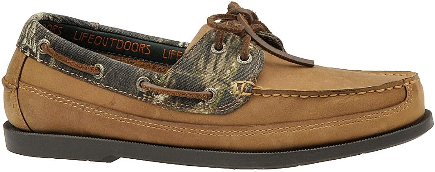 Life Outdoors Mens Camo Boat shoes Leather Closed Toe Boat shoes