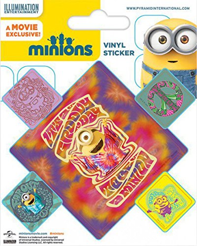 1art1 Les Minions Poster-Sticker Autocollant - Peace, It's A Groovy Day to Be A Minion (12 x 10 cm)