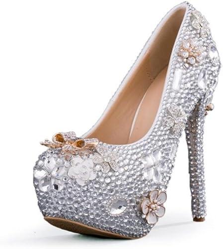 Los Tacones De Aguja De Las mujeres De LINYI Hechos A Mano De Cristal zapatos De La plataforma Impermeable De La Boda Cabeza rojoonda De Gran Tamaño