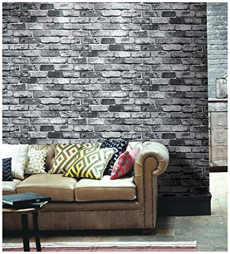 "HaokHome 69092 Faux Brick Wallpaper PVC Vintage Black/Grey Brick Wallpaper 20.8"" x 393.7"" for Home Bar Wall Decoration"
