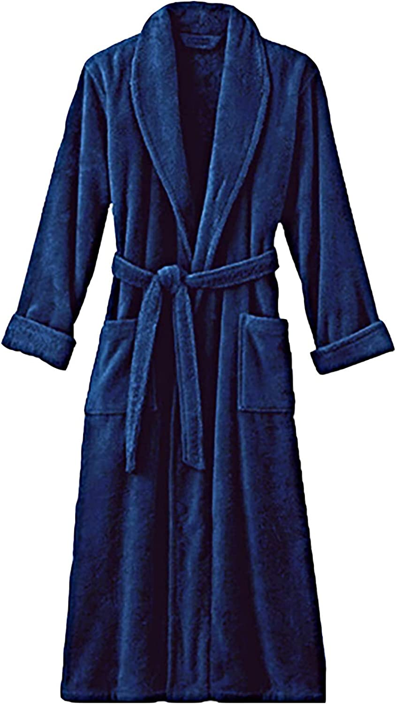Navy Blue Terry Velour Bathrobe 100% Cotton 50L