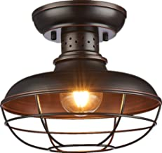 SHUPREGU Lighting Semi Flush Mount Ceiling Light Fixture, Rustic Light Fixtures, Farmhouse Lighting with Brushed Antique Bronze Finish, 11.81D X 9.84H