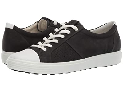 ECCO Soft 7 Cap Toe (White/Black Cow Leather/Cow Nubuck) Women