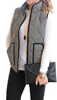Women's Slim Fall Quilted Herringbone Puffer Vest with...