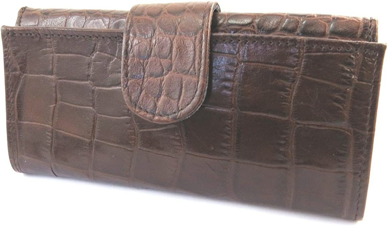 Frandi [N4398]  Large leather wallet 'Frandi' brown chocolate (crocodile).