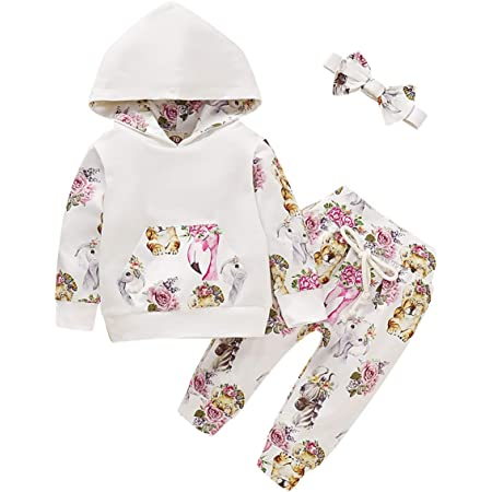 Baby Girls Clothes Outfits Long Sleeve Hoodie Floral Tops Tracksuit with Pocket Pants Headband Set Infant Baby Girls Tracksuit Outfits