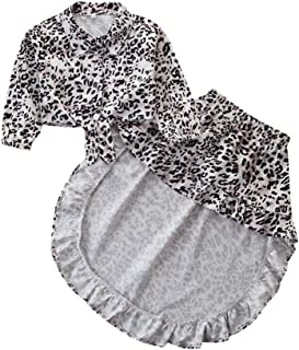 Weixinbuy Toddler Baby Girls Leopard Long Sleeve T-Shirt Top + Irregular Skirt Clothes Set