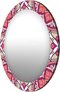 999Store Printed Classical red Leaves Pattern Round Mirror (MDF_24X24 Inch_Multi)