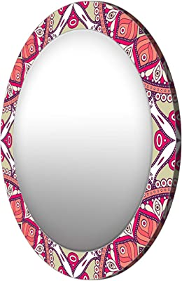 999Store Printed Classical red Leaves Pattern Round Mirror (MDF_17X17 Inch_Multi)