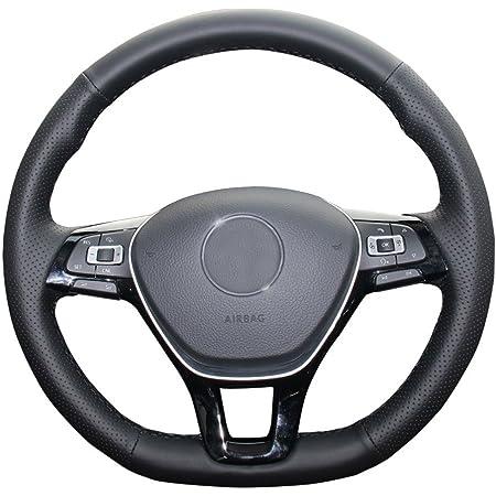 Beetle Black /& Beige Genuine Leather Steering Wheel Cover Glove 37cm