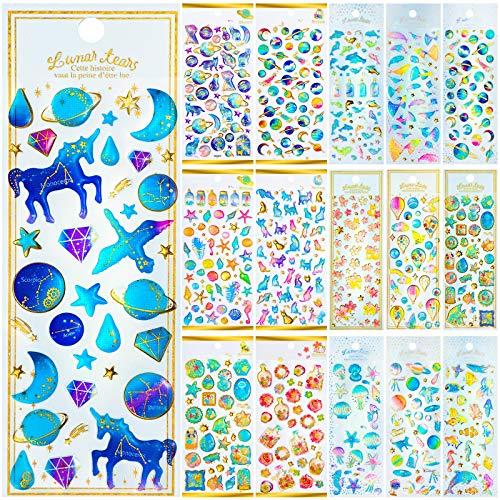 16 Sheet Epoxy Stickers Cute Planet Ocean Unicorn Craft Stickers for Kids Puffy 3D Stickers for Journal Scrapbook Planner, Laptop, Water Bottle, Scapbooking, Planner Pack