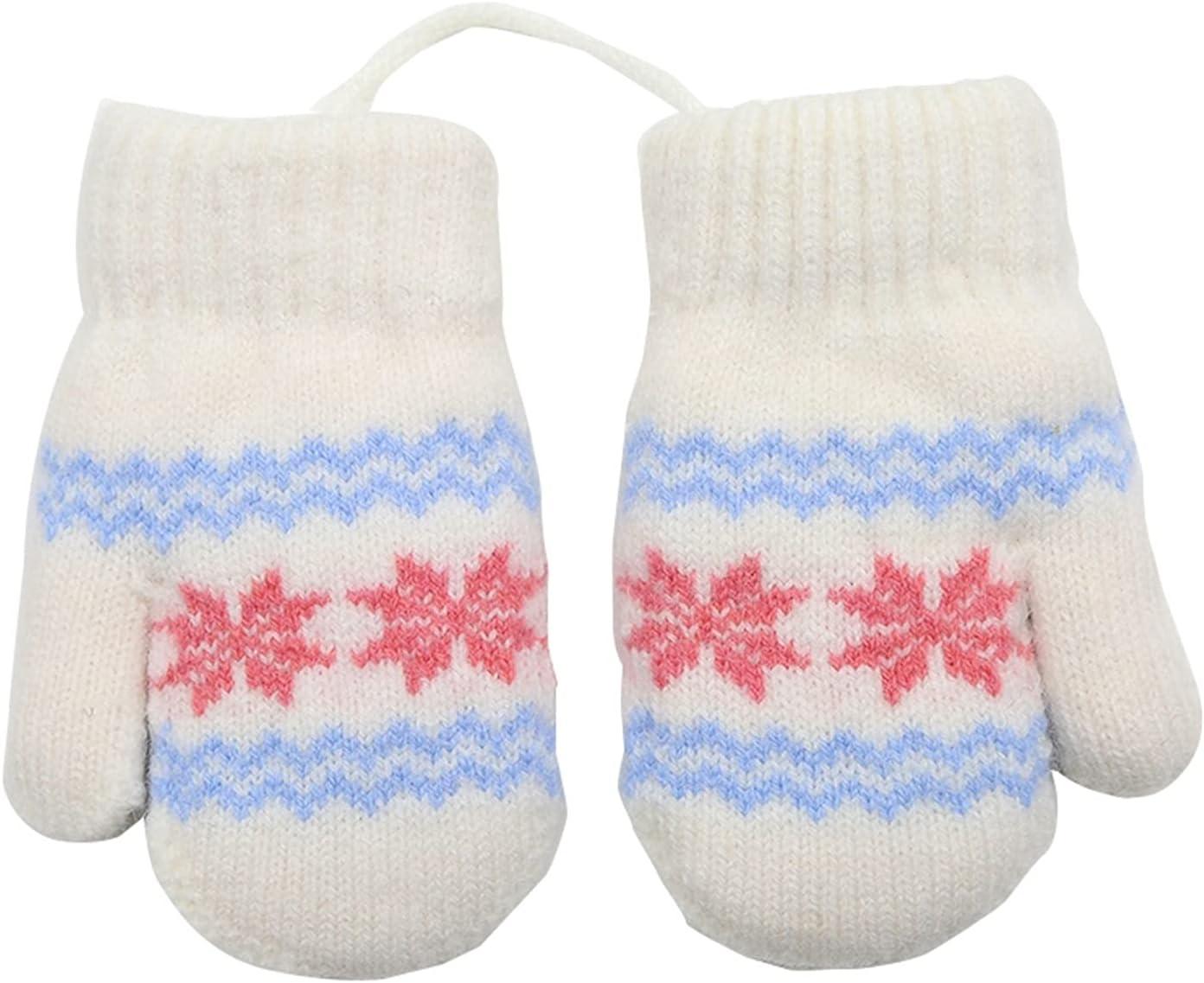 YSJJSQZ Winter Gloves Winter Kids Gloves New Children's Small Snowflake Thick Warm Knitted Mittens Newborn Baby Gloves Mittens (Color : White)