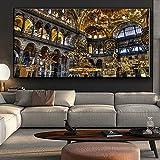 Arquitectura de Hagia Sophia, pintura en lienzo, carteles de sala de estar y grabados de la Meca, sala de estar islámica musulmana 50x100 CM (sin marco)