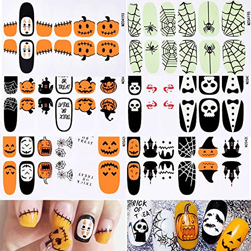 Halloween Nail Stickers - 6 Sheets Halloween Nail Decals Adhesive Pumpkin Spider Skull Ghost Witch Halloween Nail Wraps Strips for Halloween Party Nail Decoration