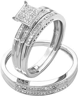 Dazzlingrock Collection 0.20 Carat (ctw) Round Diamond Men & Women's Micro Pave Engagement Ring Trio Bridal Set 1/5 CT