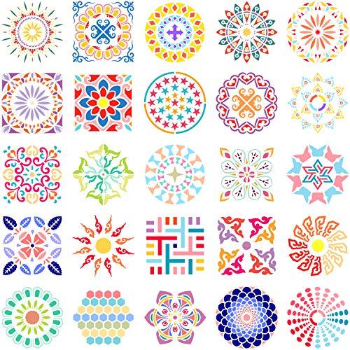 Outus 25 Stücke Mandala Punkt Malerei Schablone Vorlagen Blumen Punktierung Schablonen Mandala Zeichnung Werkzeuge für Wand Holz Stoff Glas Metall Stein DIY Malerei Kunst Projekte, 5,9 x 5,9 Zoll