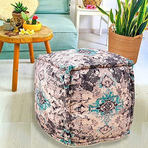 Mandala Life ART Funda otomana bohemia – 45,72 cm – Lujo, decoración artesanal de habitación para meditación, yoga y Boho Chic – Funda de almohada para el suelo