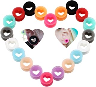 IPINK-20Pcs Heart Soft Flexible Silicone Ear Plugs Double Flared Expander Flesh Tunnels