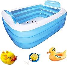 Rechthoekige Stellen dikke PVC Kleuterbad opblaasbaar zwembad Portable Children's Bath (Color : Blue, Size : 150 * 105 * 5...