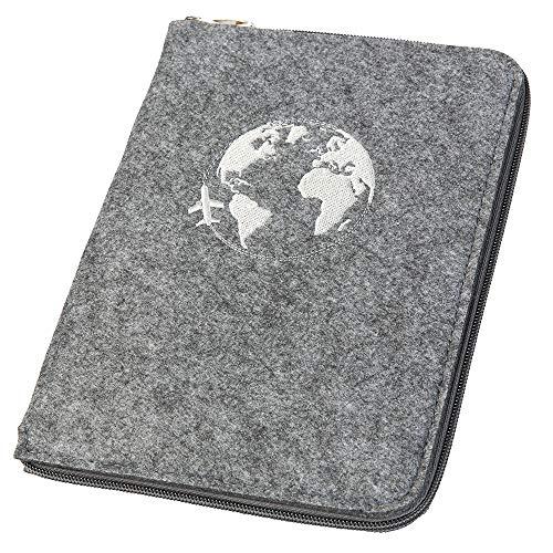 Ausweistasche Reiseorganizer Reisepasshülle A5 aus Filz mit rundum Reißverschluss Globus grau (Farbe wählbar) | Etui für Reisepass, Reiseunterlagen, Flugticket, Kreditkarte, Personalausweis