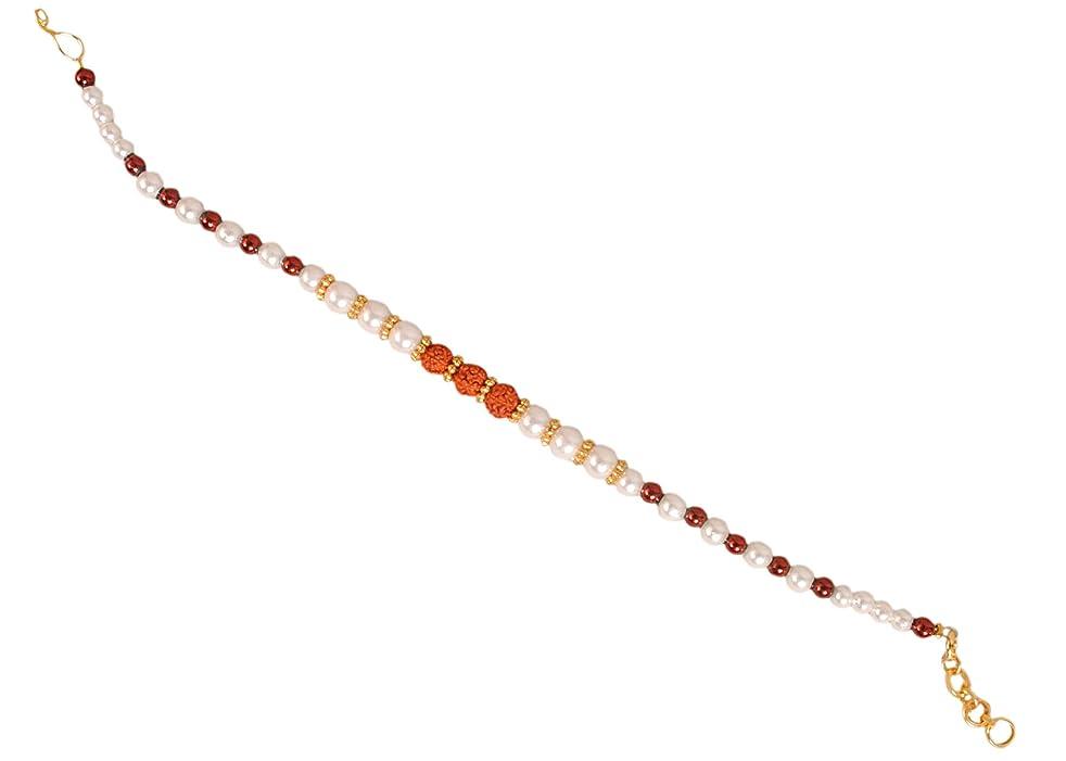 Designer RAKHEE with RUDRAKSHA & SUKHAD Beads for Bhaiya Brother/Sisters,Traditional Rakhi,Thread,Bracelet for Rakshabandhan Festival (5)