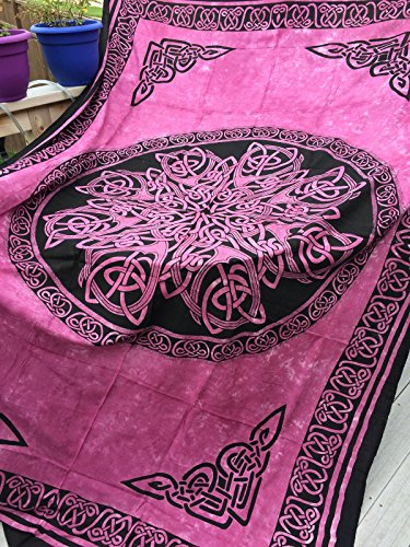 4Rissa Celtic Knot Mandala Rose Pink Tapestry Wall Hanging Bedspread