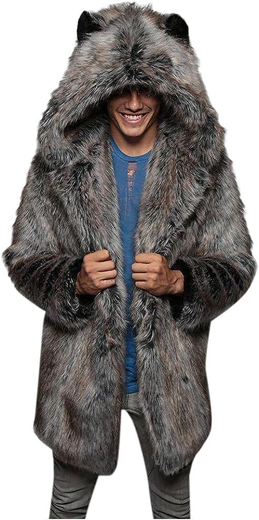 Faux Fur Overcoat for Mens Fall Winter Thick Fleece Coats Fashion Hooded Plush Cardigan Warm Jackets Outwear