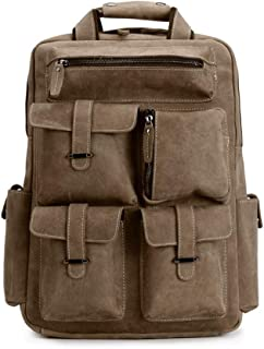 Motorcycle Bag - Full Leather Backpack, Backpack, Handmade European and American Retro Style Computer Bag, for Both Men and Women, Well-Made -30 * 9 * 44cm Dynamic (Color : Khaki)