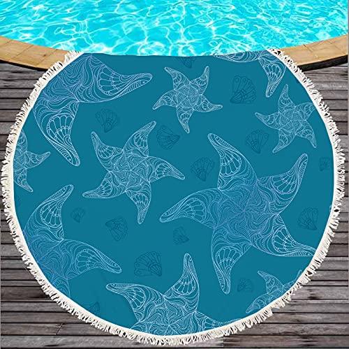 Toalla De Playa Redonda De Microfibra Serie Starfish, Tapete De Playa Absorbente A Prueba De Arena De Secado Rápido, Patrón De Impresión Digital 3D 150 * 150cm