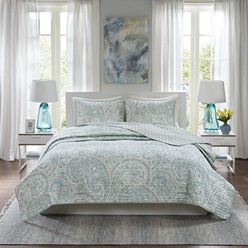 Comfort Spaces Kashmir Hypoallergenic All Season Lightweight Filling Paisley Print Girls 3 Piece Quilt Coverlet Bedspread Bedding Set, Full/Queen, Blue Grey