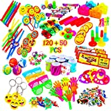 Reca 120 Kids Prizes Plus 50 Dino Stickers = 170 Party Favors for Kids Party, Birthday Party Toy Assortment , Teachers and Parents Rewards, Carnival Prizes, Pinata Fillers , Stocking Stuffers