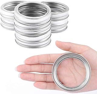 Foaynn 24 PCS Canning Bands Regular Mouth Mason Jar Rings Stainless Steel Lids,Split-Type Lids Leak Proof Secure Mason Sto...