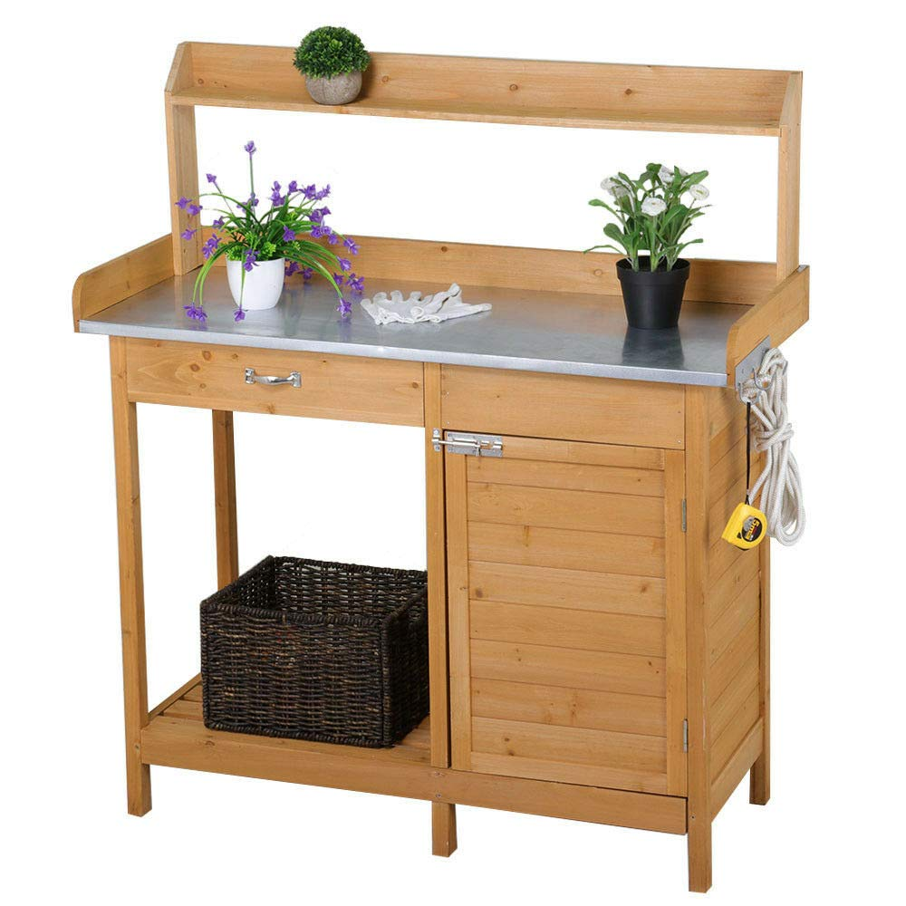 Outdoor Wooden Garden Work Bench Station, Galvanized Metal Tabletop with  Drawer, Cabinet and Open Storage Shelf, Solid Cedar Wood Construction  Potting