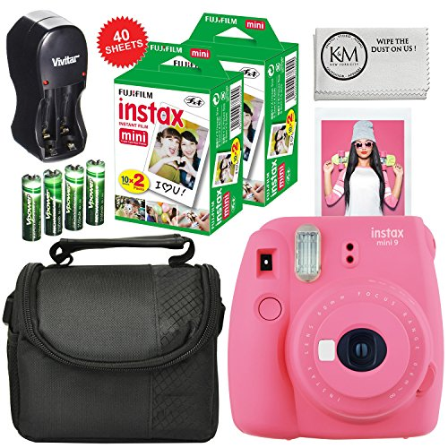 K&M Fuji Instax Mini 9 Camera Pink + Carry Case + Rechargeable AA Batteries & Charger + Instax Mini Film (40 Sheets)