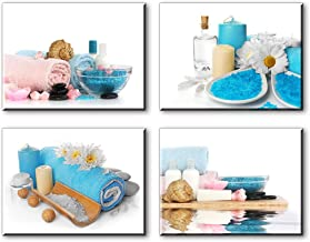 SPA Wall Art for Bathroom, Modern Blue Candle and Towels Pictures, Canvas Prints Decor (Waterproof Artwork, Bracket Mounted Ready to Hang)