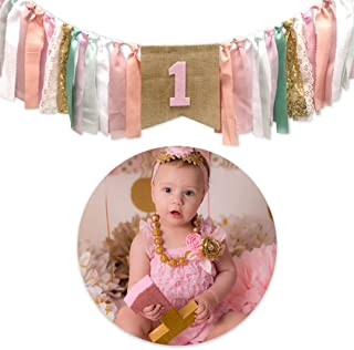 Pink Princess Style Tutu 1st Birthday High Chair Banner First Birthday Party Supplies