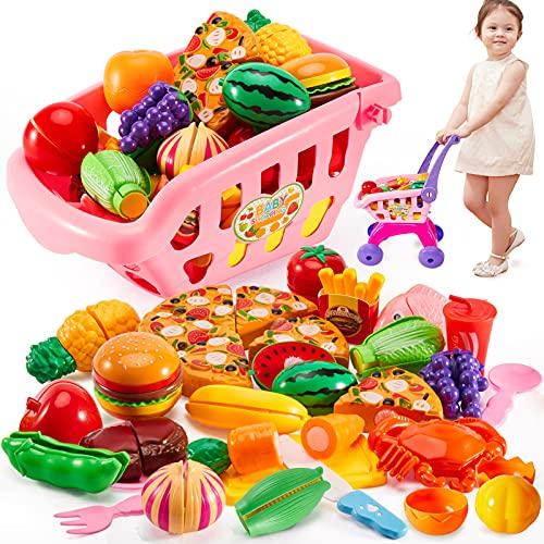 Buyger 31 Pezzi Bambini Supermercato Carrello della Spesa Giocattolo Frutta Cibo Giocattolo Giochi di Ruolo per Bambini