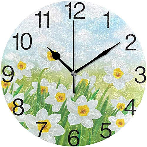 L.Fenn Narcissen Bloemen Design Ronde wandklok, Silent Non Ticking olieverfschilderij Decoratief voor Home Office School Clock Art