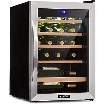 KLARSTEIN Vinamour 19 - Cantinetta Vino con Porta in Vetro, Dispositivo Raffreddamento Vino, 19 Bottiglie, 65 L, 4-18 ° C, 39 dB, Illuminazione Interna, Touch, Telaio in Acciaio Inox, Nero