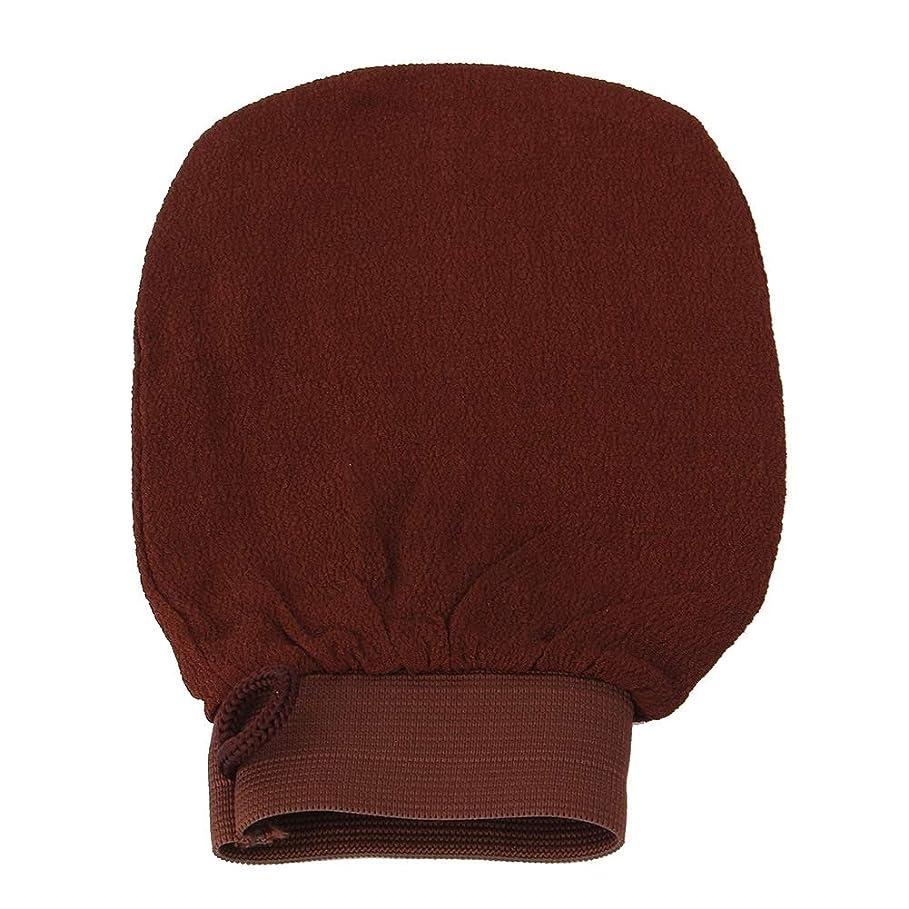 おめでとう分配しますシャワー手袋 バスタオル 剥離手袋 単層 バス手袋 お風呂用 デッドスキンセルライト(ブラウン)