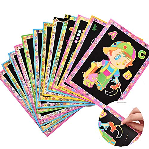 YWXKA Rainbow Scratch Art Notebook for Kids, Best for Travelling, Party Favors, Slumber with 30 Sheets Paper and 3 Wooden Stylus