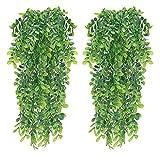 XHXSTORE 2 Piezas de Hiedra Artificial para Interiores y Exteriores, Planta Colgante Falsa, Hiedra trepadora de plástico para decoración de Paredes, balcón, Puerta, balcón, Dormitorio