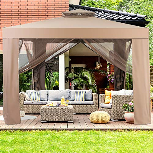 Tangkula 10'x 10' Canopy Gazebo, Patio Tents and Garden Structures Gazebo W/Mosquito Netting, Outdoor Gazebo Canopy Shelter for Home/Garden/Lawn/Patio House Party (Brown)