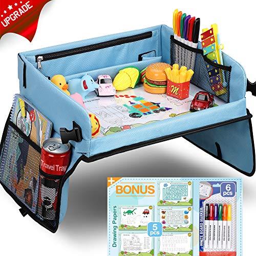 Loori Kinder Knietablett Reisetisch mit 5 Bilder+6 Pinsel - Zeichnung auf Waschbar Malbrett, Multifunktional Spielzeug, Tragbar Tablett, Einstellbar Kindersitz, Blau Autositz für Kinder
