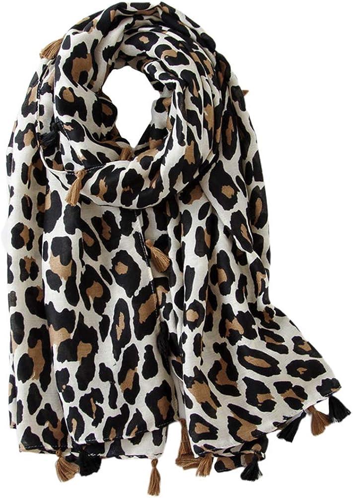 FENICAL Leopard Scarf Women Animal Print Scarf Long Scarf Cotton Shawl Scarf Gift Scarf Leopard Print Scarf