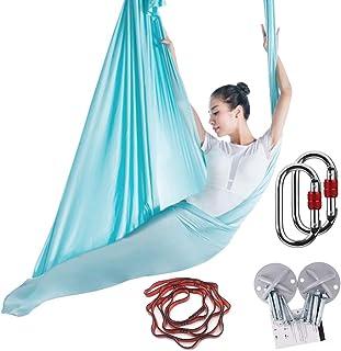 KIKIGOAL 5M Yoga Pilates Aerial Silk Kit Yoga Swing Aerial Yoga Antigravity Hammock Trapeze Silk Fabric for Yoga Strap Bod...