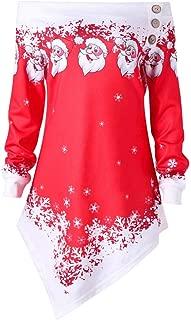 iLUGU Womens Christmas Santa Off Shoulder Asymmetric Snowflake Sweater Pullover